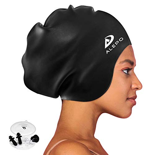 Alepo Extra Large Swim Cap for Women Men, Durable Silicone Swimming Hat with Ear Protection, Unisex Adults Bath Swimming Caps for Long Thick Curly Hair & Dreadlocks Braids Weaves Afro Hair (Black)