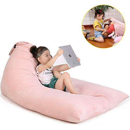 Stuffed Animal Storage Bean Bag Chair for Kids and Adults. Luxury Velvet Stuffie Seat - Cover ONLY(Sweet Pink 200L/52 Gal)