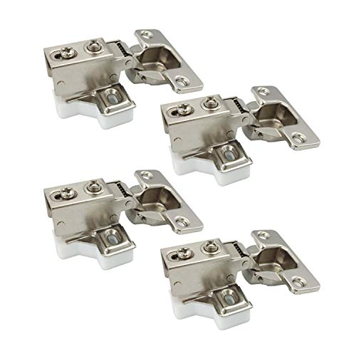 LIKERAINY 95 Grado Arremetida 35mm Mini Bisagra del Marco con Amortiguación para Puerta Bisagras Corta para Puertas de Empotrado Mueble Armario Juego de 4