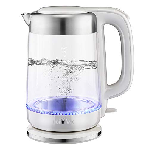 Hommak Electric Kettle, 1.7L Glass Quiet Electric Tea Kettle 2200W Fast Boil