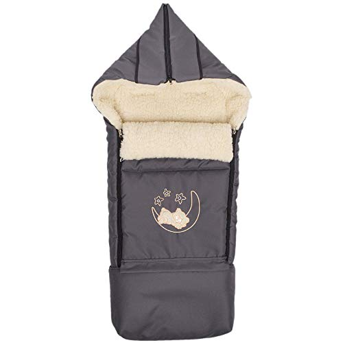 Lammwolle Winter-Fußsack Sack Fußsack Hörnchen BabyFußsack mit Reißverschluss Schlitten Kinderwagen Babyschale 40 x 90/107 cm (Anthrazit)