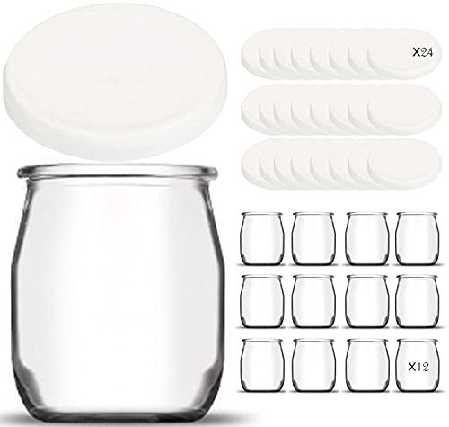 Lote de 12 tarros de yogur de cristal con 12 tapas herméticas + 12 tapas de regalo | Fabricación francesa | para yogurtera y robots a presión (termomix, cookeo, etc) | 142 ml / 125 G
