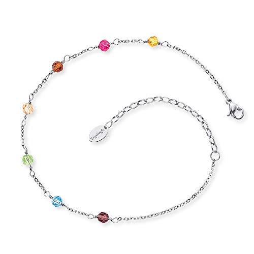 Engelsrufer Damen Fußkette ERFS-RAINBOW Stelring Silber 27 cm