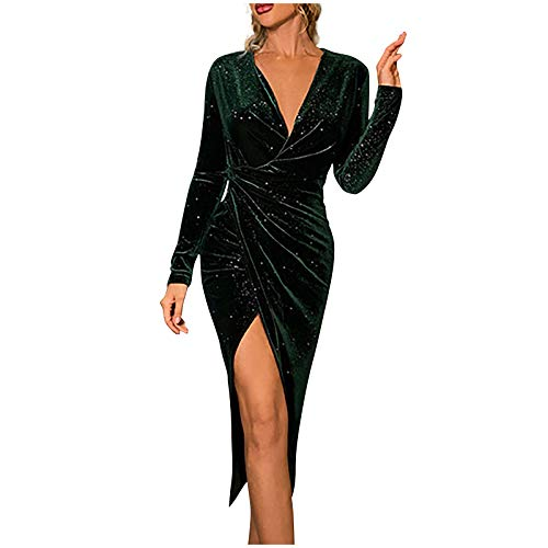 Briskorry Kleid Damen V-Ausschnitt Sexy Lange Ärmel Goldener SamtAbendkleid Schlanke Goldener Samt Paillettenkleid Frauen Elegant Party Kleider...