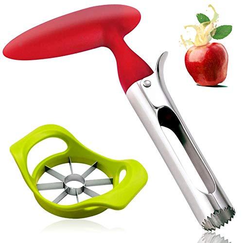 Descorazonador de Manzanas,Cortador Manzana,Saca Corazon Manzana de Acero Inoxidable y uego de Cortador de Manzanas, Apple Corer Adecuado para manzanas, peras, tomates