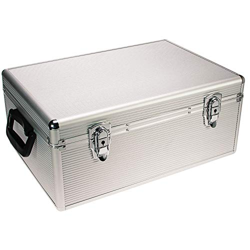 SAFE 216 CD Aufbewahrungssystem | ALU Koffer zur dvd Aufbewahrung | Hängeregister Box Abschließbar | Inkl. 510 Hängeregistern | Abmessungen: 450 x 300 x 180 mm
