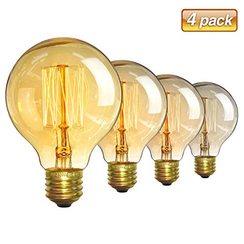 Vintage Edison Bulbs Elfeland G80 40W 110V Antique Retro Incandescent Dimmable Light Bulb Squirrel Cage Filament Light Bulb for Home Light E26/E27 Base (4 Pack)
