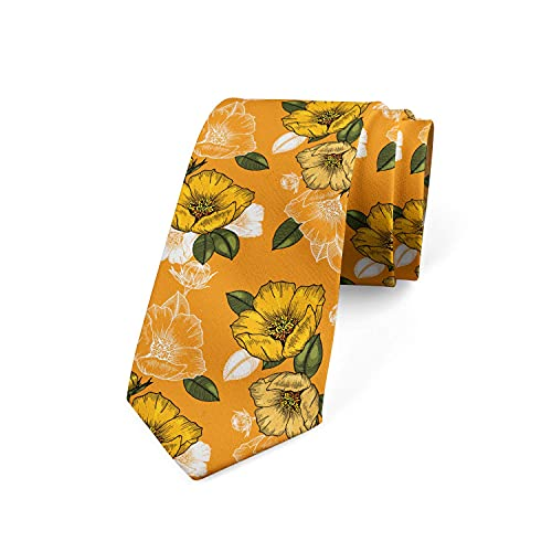 Tcerlcir Corbata De Hombre Tonos Naranjas Flor De Primavera, Marigold Verde Militar Poliéster Boda Corbata Clásica De Negocios