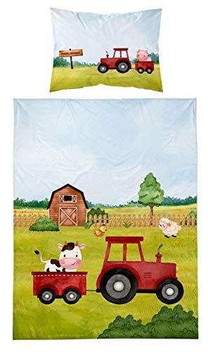 Bauernhof-Tiere Kinderbettwäsche Babybettwäsche 2 TLG Set Bettbezug 90x120 + Kissenbezug 40x60 cm, 100% Baumwolle Öko-Tex, Grüner Traktor