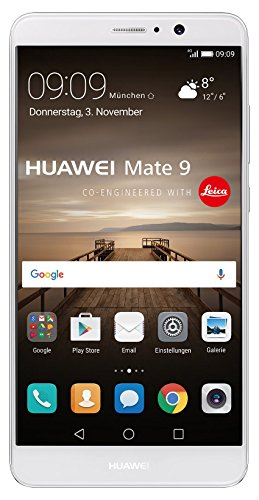 Huawei Mate 9 (14,9 cm (5,9 Zoll), 64GB, 12 Megapixel Kamera, Android 7.0) Silber