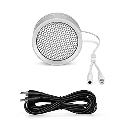 Amcrest Hi-Fi Audio Microphone for IP Security Cameras, CCTV Surveillance RCA Microphone for DVR's w/High Fidelity Pickups for Audio Recording, 10 ft RCA Cable, AM-HAP120-10FTRCACABLE