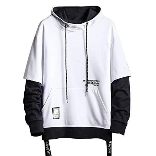LUCAMORE Mens Contrast Color Pullover Hoodie Patchwork Hoodies Loose Fit Sweatshirt Streetwear M-XXXXXL White