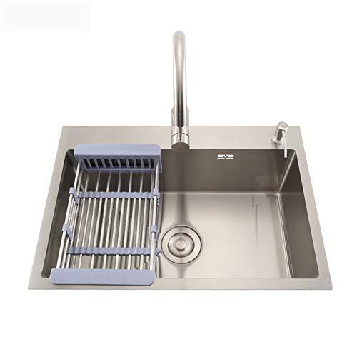 TONGSH Fregadero, fregadero de cocina de un solo tazón 304 Fregadero de acero inoxidable con un juego de grifo de agua caliente y caliente, orificio de grifo, agujero dispensador de jabón