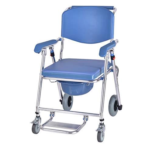 Silla WC/Silla de Ducha de Aluminio/Silla de Inodoro/Ruedas y Asiento Acolchado, para Personas Mayores con discapacidad Mujeres Embarazadas