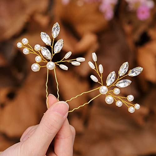 Zoestar Braut Hochzeit Haarnadeln Gold Kristall Kopfschmuck Perlen Haarspange Braut Haarschmuck für Frauen und Mädchen (2 Stück)