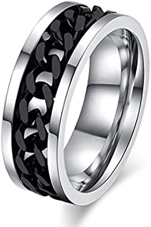 Ring For Men By Bluna, Silver And Black, Size 8, R028