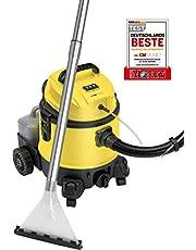Clatronic BSS 1309 4-in-1 multifunctionele nat-/droogzuiger met shampoo-functie incl. aparte, afneembare tank voor reinigingsmiddelen (4 liter), uitgebreide accessoires, zwart/geel
