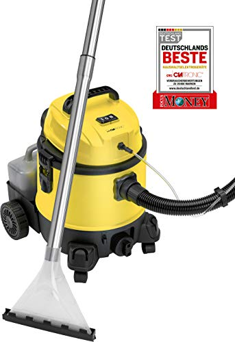 Clatronic BSS 1309 4in1 Mehrzweck-Nass-/Trockensauger mit Shampoo-Funktion inkl. separatem, abnehmbaren Tank für Reinigungsmittel (4 Liter), umfangreiches Zubehör, Schwarz/Gelb