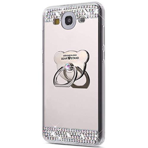 Jinghuash Compatible avec Samsung Galaxy S3 Coque,Miroir Housse Paillette Brillante Strass avec Ours 360 Rotation Bague Support Ultra Mince TPU Silicone Anti-Choc Miroir Coque Etui-Argent