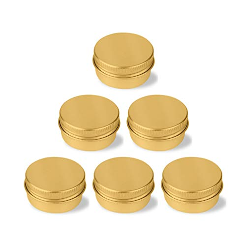 24 Pcs 10ml Gold Aluminium Tins Containers - Empty Jars for Cream Gel Lip Balm Candle Jewelry Beads Samples with Screw Lids