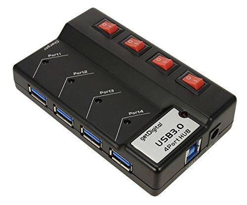 getDigital Ultimate Hub mit Stromversorgung (4-schaltbares Port, USB 3.0) schwarz