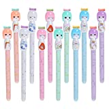 VANVENE 12pcs Cute Pens Kawaii Stationary, 0.38mm Black Ink Roll Pen Cute Office and School Supplies Best Pens for Writing (Japanese)