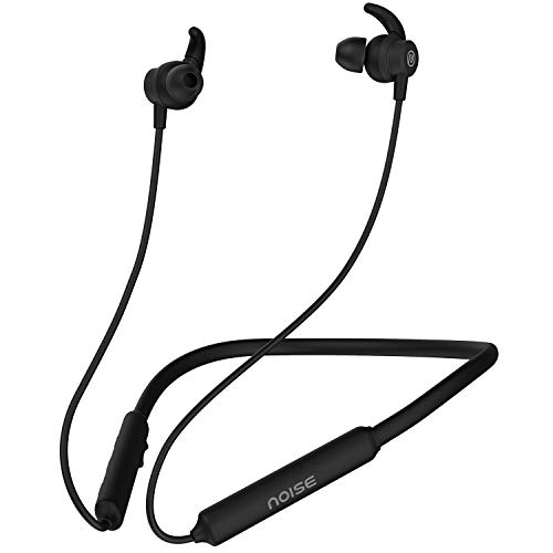 Noise Tune Active Wireless Neckband Headphones with Mic, IPX5 Sweat & Water Proof, 10 Hours Playtime, Dual Pairing, Magnetic Earbuds, Bluetooth v5.0 (Stealth Black)