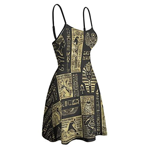 kikomia Vestito da donna a dondolo regolabile con spalline dorate e meraviglie egiziane e geroglyphen stampa Bodycon Mini Party Club con tracolla bianco XXL