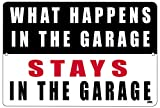 Rogue River Tactical Funny Mechanic Metal Tin Sign Wall Decor Man Cave Bar What Happens in The Garage