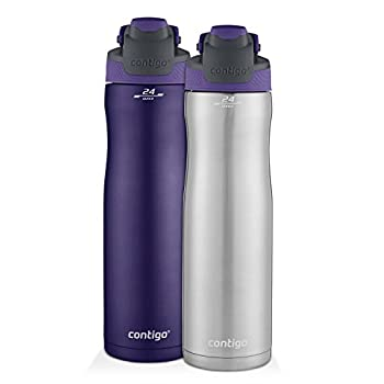 Contigo Autoseal Chill Stainless Steel Water Bottles 24 Oz SS/Grapevine & Grapevine 2-Pack
