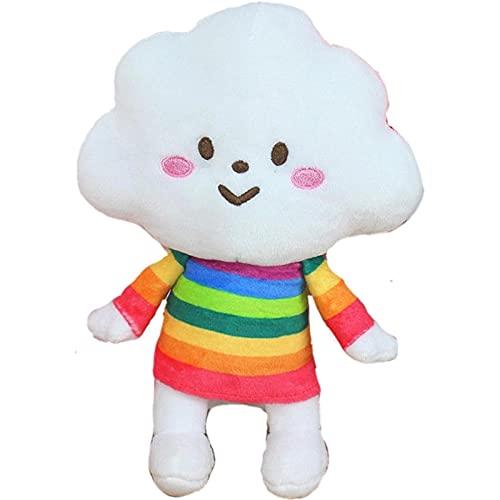 Lindo arco iris nube blanca muñeca felpa peluche nube arco iris felpa almohada pareja muñeca felpa decoración hogar 40 cm arco iris hermana