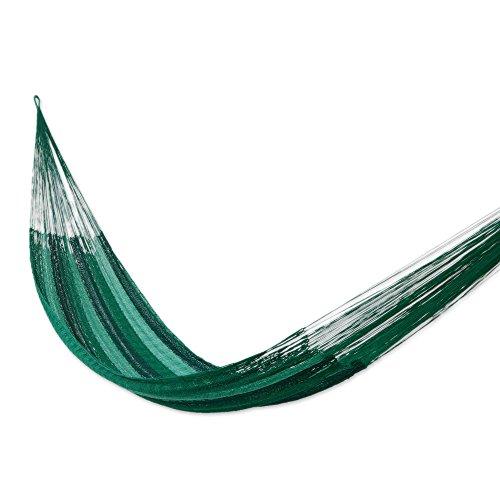 NOVICA Multicolor Green Striped Hand Woven Nylon Mayan 1 Person Rope Hammock, Caribbean Dream