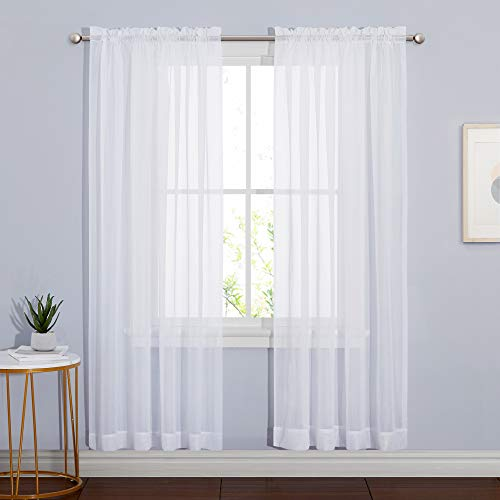"""NICETOWN Sheer Curtains 72 inches Length for Living Room, Dual Rod Pockets Airy Window Treatments Voile Sheer Panels Lightweight for Wedding, White, 2 PCs, 60"""" Width"""