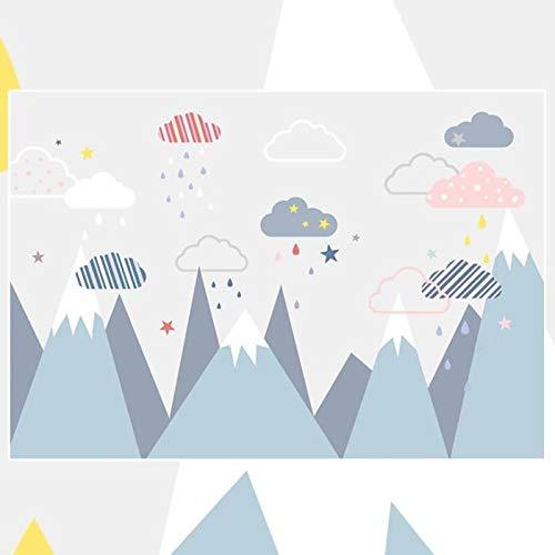 Msrahves Fotomurales decorativos Azul picos de las montañas cielo estrellado nubes Fotomural Vinilo para Pared Infantil Fotomural para Paredes Mural Decorativo Decoración comedores Salones Hab