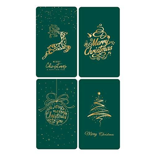 VALICLUD Schicke 8-Blatt-Weihnachtsgrußkarten Zarte Weihnachts-thematische Segen-Karte Kreative DIY-Weihnachtspapier-Einladungskarte mit Umschlag für Silvester-Geburtstagsgebrauch