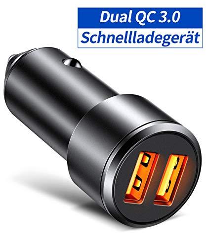 JSAUX Zigarettenanzünder USB Ladegerät [QC3.0 Dual Port] 36W 6A Schnellladung Auto ladegerät 12V Metal KFZ Ladegerät Kompatibel für iPhone X XS Max 11 Pro, Galaxy S8 S9 S10 Plus, Huawei ect - Schwarz