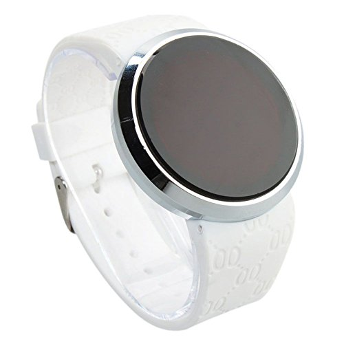 『COCOTINA新しいメンズLEDタッチスクリーン円形パターン日日付スポーツ腕時計(ホワイト)』のトップ画像