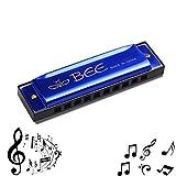 Mundharmonika, Kinder Mundharmonika -10 Löcher mundharmonika Diatonisch - Mundharmonika C-Dur Major Blues Harmonika, für Anfänger/Profis mit Etui (Blau und Rosa) (Blau)