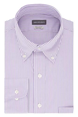 Van Heusen mens Regular Fit Pinpoint Stripe Dress Shirt, Wild Orchid, 17.5 Neck 34 -35 Sleeve X-Large US