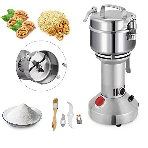 Mophorn 350g Electric Grain Mill Grinder Powder Machine 1600W 50-300 Mesh Food Grade 25000RPM Stainless Steel for Kitchen Herb Spice Pepper Coffee