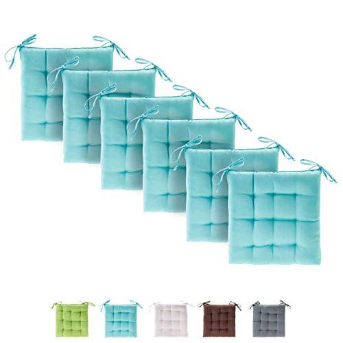etérea Basic Sitzkissen, Stuhlkissen mit Bändern - für Innen- und Außenbereich geeignet, Sitzpolster Auflage für Haus und Garten - 6er Set - 40x40 cm, Türkis