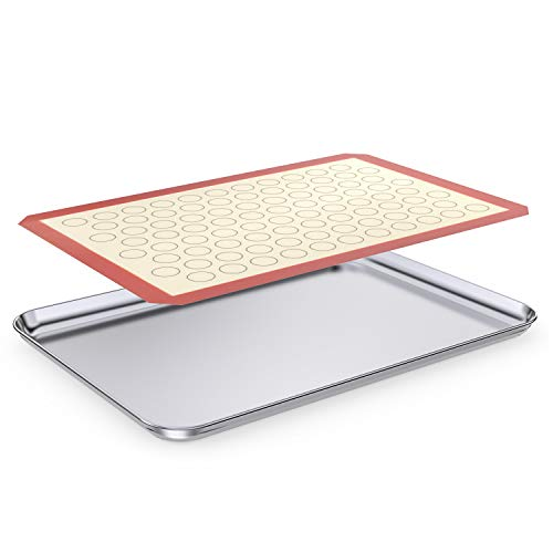 Large Baking Sheet with Silicone Mat, HKJ Chef Cookie Sheet Set & Stainless Steel Baking Pan with Silicone Mat, Size 24 x 16 x 1 inch, Non Toxic & Heavy Duty & Easy Clean