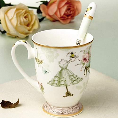 TKG Mode Tasse en céramique élégant Motif Design Petit déjeuner Tasse de Lait de Tasses à café en Porcelaine pour la Coupe du thé