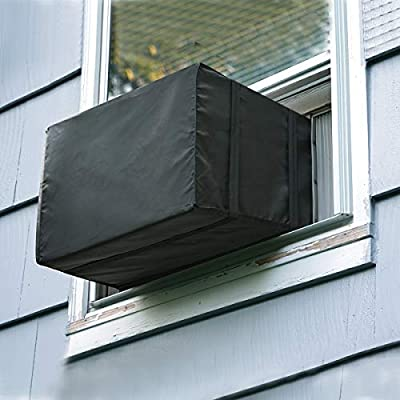 Luxiv Window Air Conditioner Cover Outdoor, Outside Window AC Unit Cover Black Dust-Proof Waterproof AC Cover Outdoor Window AC Protection Cover (25.5Wx20.5Dx18H)