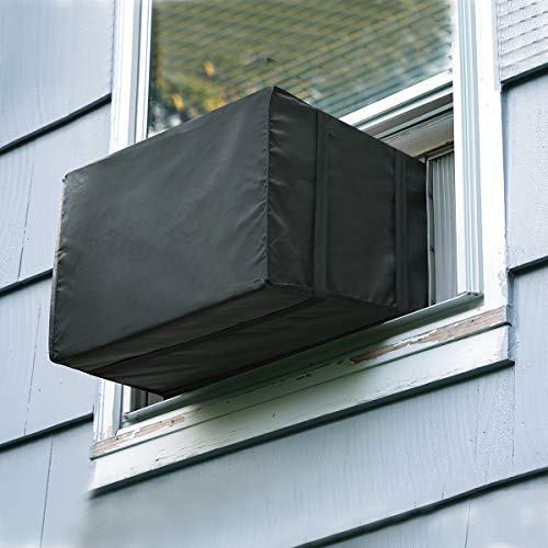 Luxiv Window Air Conditioner Cover Outdoor, Outside Window AC Unit Cover Black Dust-Proof Waterproof AC Cover Outdoor Window AC Protection Cover...