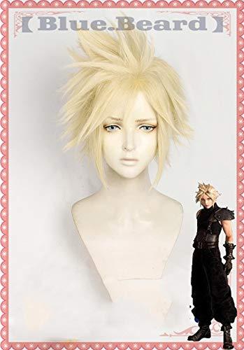 Final Fantasy Vii 7 Cloud Strife Perücken Cosplay Kostüm Golden Hitzebeständige synthetische Haarperücke Pelucas + Haarteil + Haarnetzkurze Perücke