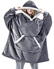 Oversized deken hoodie met gigantische zak, ultra zachte teddy Sherpa fleece sweatshirt voor vrouwen mannen volwassen kind