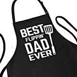 Best Dad Ever Apron Funny Gift for Father - BBQ Cooking Apron for Men - Adjustable Large 1 Size Fits All - Poly/Cotton Black Apron with 2 Pockets - BBQ Gift Best Flippin Dad Ever Apron
