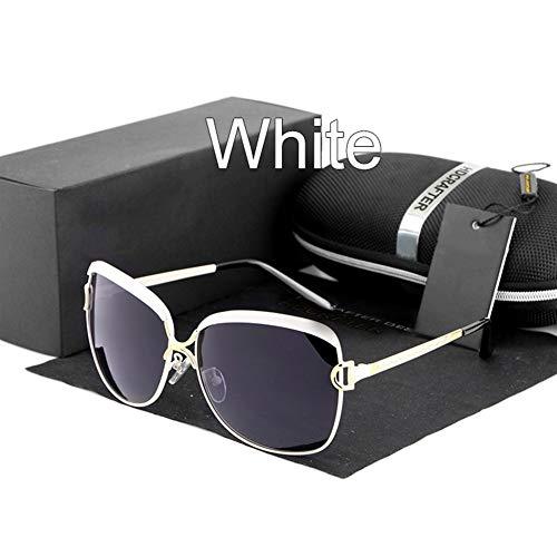 Qilo Gafas de Sol de Gran tamaño polarizado de los vidrios de Sun de Las Mujeres for Las Mujeres Mujer Vendimia de Las señoras (Color : White)