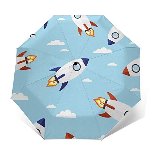 TISAGUER Paraguas automático de Apertura/Cierre,Nubes Blancas y Cohete en el Cielo,Paraguas pequeño Plegable a Prueba de Viento